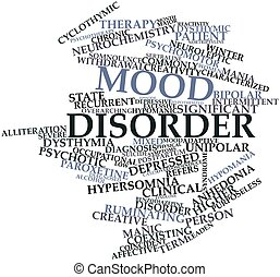 Mood disorder - Abstract word cloud for Mood disorder with...