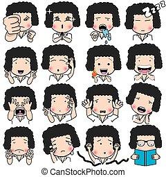 mood face - Set of cartoon character different facial ...