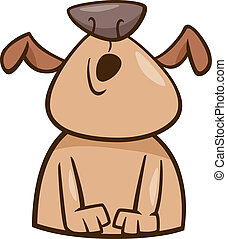 Cartoon Illustration of Funny Howling Dog or Puppy
