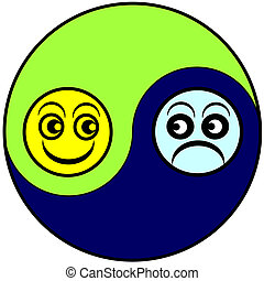 Alternation of the emotional state between euphoria and depression as part of bipolar disorder or menopause