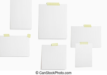 Moodboard template composition with blank photo cards, polaroid frame glued with yellow adhesive tape and isolated on white for easy editing.