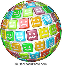 A sphere made of colored tiles showing faces displaying many moods, emotions and feelings from smiling to indicate happiness or joy to frowns to show anger or sadness
