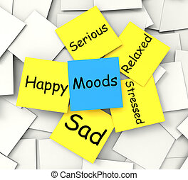 Moods Post-It Note Shows State Of Mind - Moods Post-It Note...