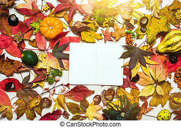 Moody, autumn background with colorful leaves and blank notepad with copy space