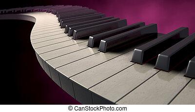 Moody Curvy Piano Keys - A full set of regular piano keys...