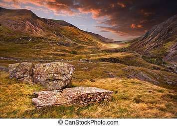 Moody dramatic mountain sunset landscape - Dramatic sunset ...