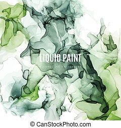 Moody green shades ink background, wet liquid