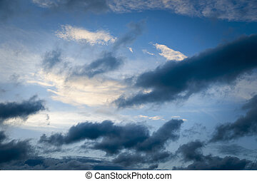 Moody sky - Blue sky with  white dark and white clouds