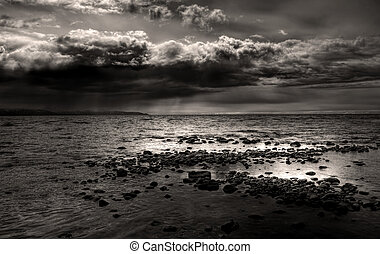 Moody storm clouds over the bay