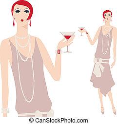 mooi, 1920s, jonge, retro, meisje, style.