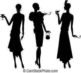mooi, 1920s, silhouettes, meisje, style.