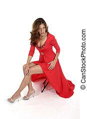 mooi, 2, vrouw, jurkje, rood