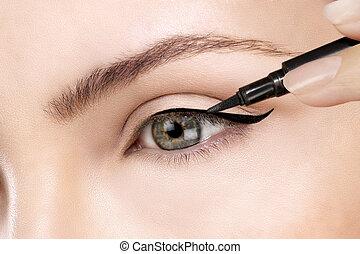 mooi, aan het dienen, eyeliner, closeup, oog, model