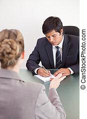 mooi, aanvrager, verticaal, directeur, het interviewen, vrouwlijk