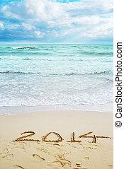 mooi, aanzicht, op het strand, met, 2014, jaar, tekens &...