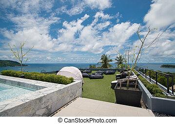 mooi, aanzichten, oceaan, thailand., waterkant, gevolg
