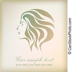 mooi, abstract, vector, meisje, gezicht