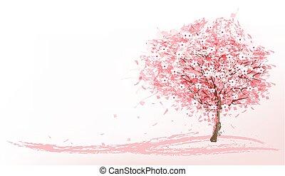 mooi, achtergrond, met, een, roze, bloeien, sakura, boom.,...