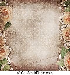 mooi, achtergrond, ouderwetse , kant, rozen, parels