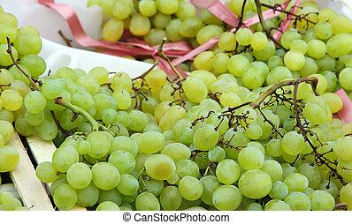 mooi, achtergrond, van, rijp, druiven, te koop, op, groente, markt