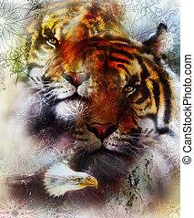mooi, adelaar, bruine , structures., kleur, decoratief, abstract, vlek, model, color., tiger, sinaasappel, zwarte achtergrond, witte , schilderij