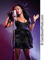 mooi, afrikaans amerikaans meisje, muziek, zinger