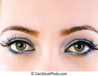 mooi, afsluiten, makeup, op, gezicht