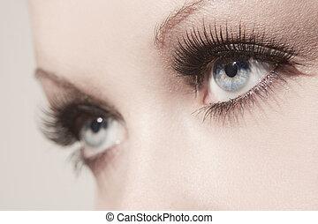 mooi, afsluiten, vrouw oog, op