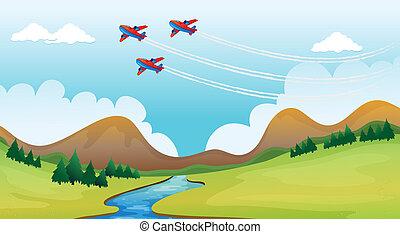 mooi, airplains, vliegen, landscape