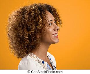mooi, amerikaanse vrouw, afrikaan