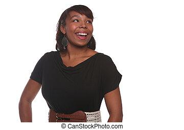 mooi, amerikaanse vrouw, witte , afrikaan