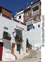 mooi, andalusia, straat, frigiliana, spanje