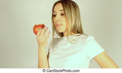 mooi, appel, jonge, vasthouden, sexy, meisje