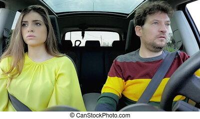 mooi, auto, boze vrouw, boyfriend