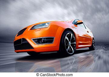 mooi, auto, sportende, straat, sinaasappel
