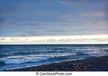mooi, avond, hemel, bewolkt, zee, onder overzicht