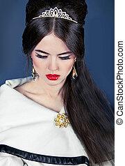 mooi, avond, juwelen, foto, make-up, haar, vrouw, beauty., mode, style.