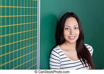 mooi, aziatisch meisje, leun, bord