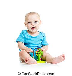 mooi, baby met, kleur, onderwijsstuk speelgoed