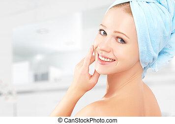 mooi, badkamer, baddoek, gezonde , jonge, huid, care., meisje