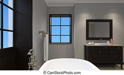 mooi, badkamer, shower., vertolking, meester, 3d