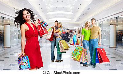mooi, bags., meisje, shoppen