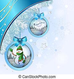 mooi, bal, kerstmis