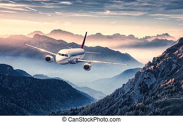 mooi, bergen, op, vliegen, mist, ondergaande zon , vliegtuig