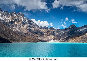 mooi, bergen, snow-capped