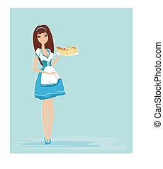mooi, blad, waitress