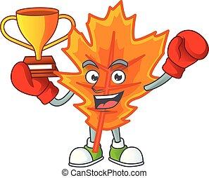 mooi, bladeren, winnaar, boxing, herfst, sinaasappel, karakter