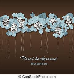 mooi, blauwe bloemen, floral, achtergrond