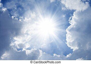 mooi, blauwe hemel, met, heldere zon