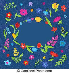 mooi, blauwe , lente, groet, bloemen, kaart